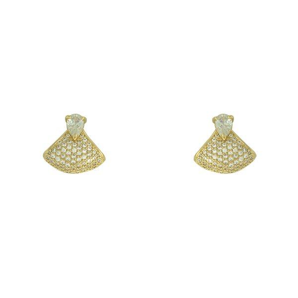 Brinco Zircônia Lesprit LB17671WGL Dourado Cristal