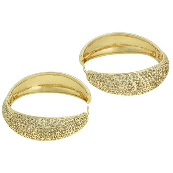 Brinco Argola Zircônia Lesprit LB11271WGL Dourado Cristal