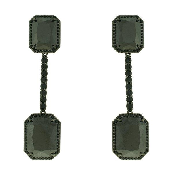 Brinco Zircônia Lesprit LB14021BOBK Ródio Negro Preto