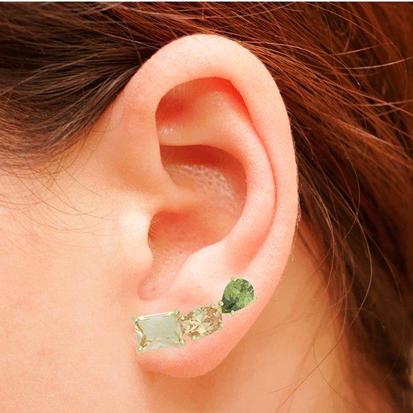 Brinco Ear Cuff Zircônia Lesprit LB14741MIXGL Dourado Topazio e Verde