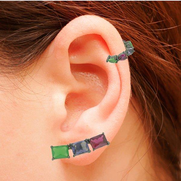 Brinco Ear Cuff Zircônia Lesprit LB12271MIX2 Ródio Negro multicor2