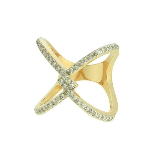 Anel Zircônia Lesprit LA05701WRHGL Dourado Cristal