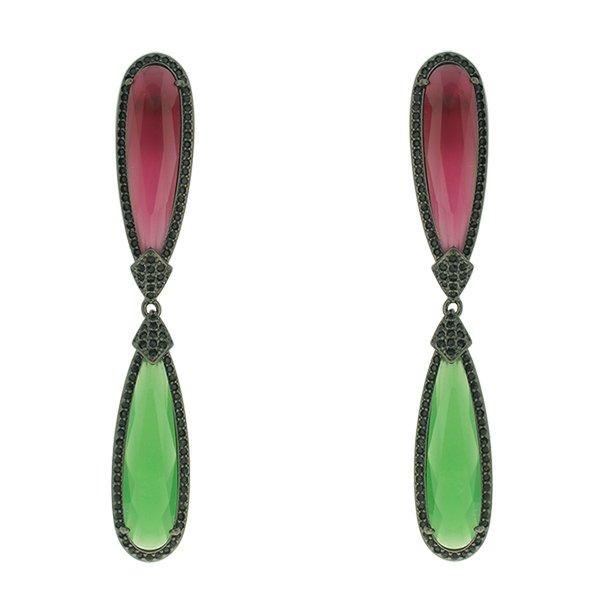 Brinco Zircônia Lesprit LB13051 Ródio Negro Rubi e Verde Leitoso