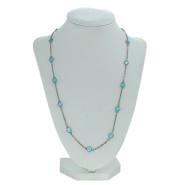Colar Cristal Lesprit 37-93503 Ródio Negro Azul Claro