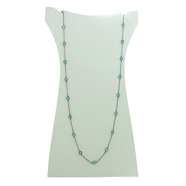 Colar Cristal Lesprit 2062-92303 Ródio Negro Azul Claro