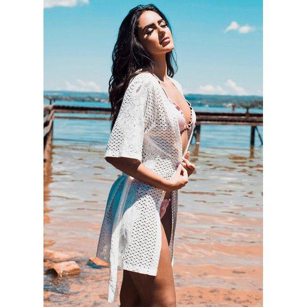 Saida de praia - Kimono curto Renda Branca