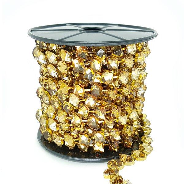 Corrente Dali - Pedra Mel, Banho Ouro.