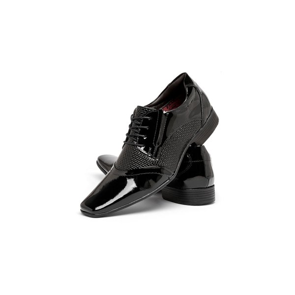0a9c1f574 Sapato Social De Verniz Preto Com Cadarço Nevano | BOOTSHOES