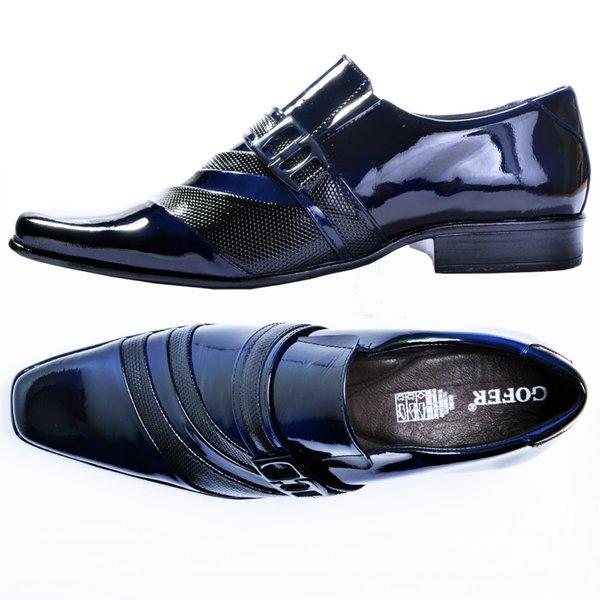 93746c6e29 Sapato Social De Verniz Azul Com Preto Gofer | BOOTSHOES