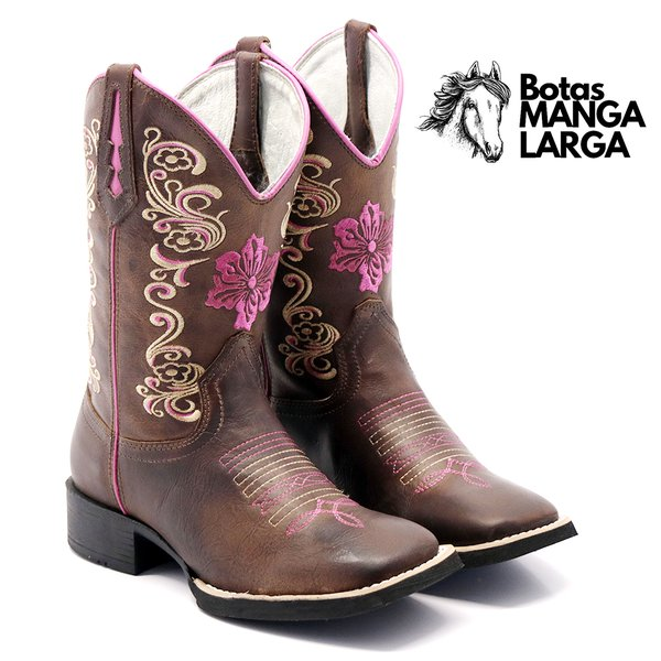 Bota Texana Feminina em Couro Legítimo Flor Pink Bico Quadrado