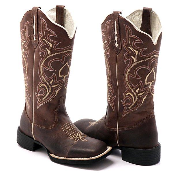 63e6a104ef1862 Bota Texana Feminina Hopper em Couro Legítimo Bico Quadrado Bege ...