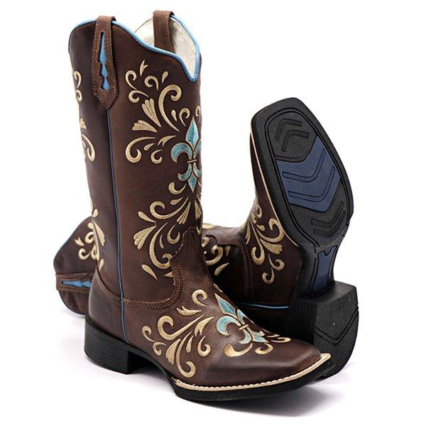 a01fd00eb7ff82 Bota Texana Feminina Hopper em Couro Legítimo Bordado Azul | BOTAS ...