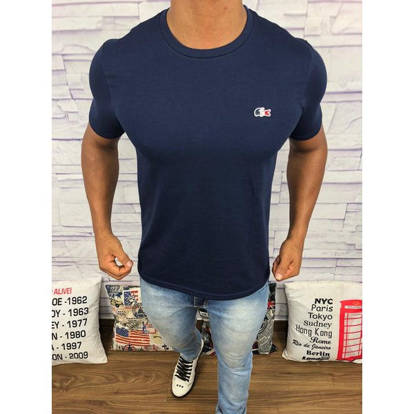 898ca6c39f8 Camiseta Lacoste Lisa -Azul Marinho Logo Colorido
