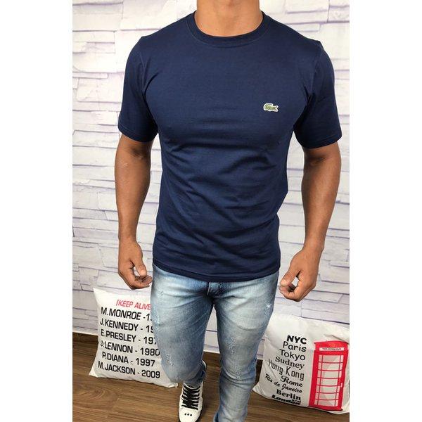 b41192c61fe Camiseta Lacoste Lisa - Azul Marinho com logo verde