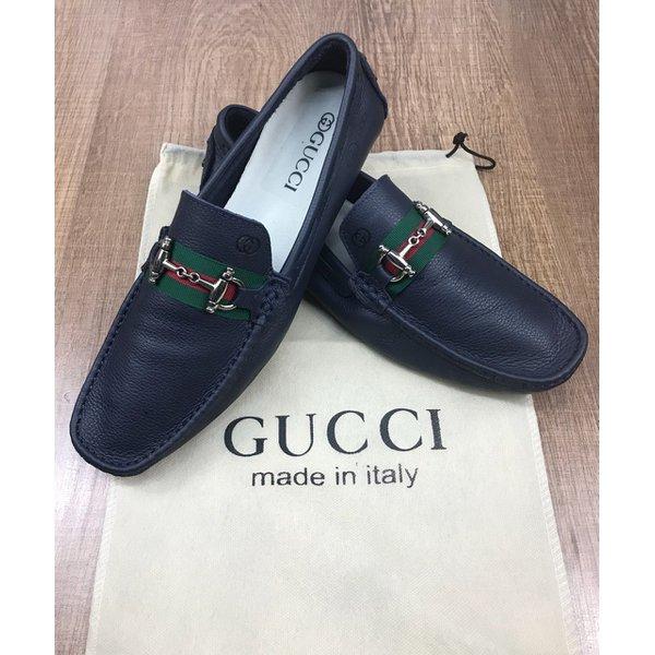 40b9ae5749 Mocassim Gucci Azul Marinho