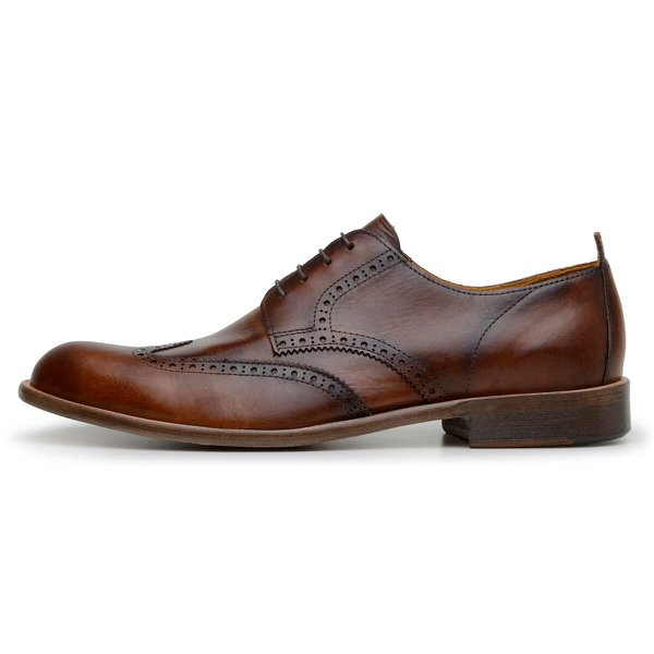 SAPATO CASUAL MASCULINO DERBY CNS BROGUE KENNER 01 CARAMELO