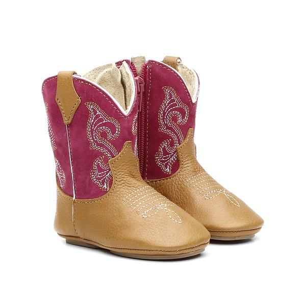 bb8c550529b147 Bota Texana Bebê Feminina Bordado Floater Whisky/Pink 1010