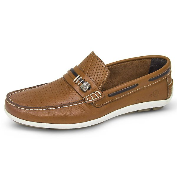 Mocassim Masculino Couro Látego Perfurado Barcelona Mr. Light - 080 - Castor