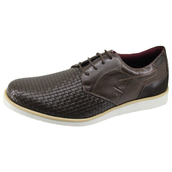 Sapato Casual Masculino Tramado Vêneto Derby Oxford Mr Light - 606 - Café