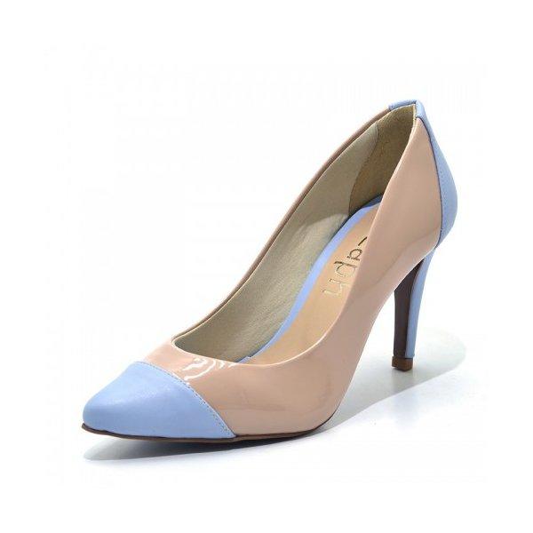 8ee116c3de Sapato Scarpin Salto Alto Fino Nude e Azul Serenity 1740 | Double ...