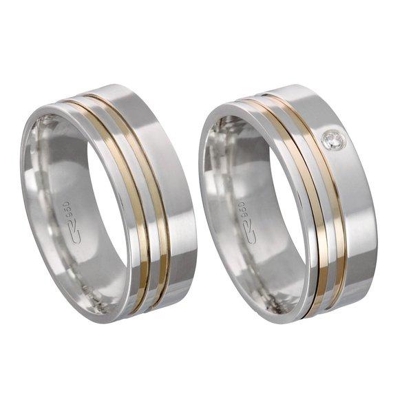 Alianças de compromisso em prata 950 trabalhada com fios de ouro e pedra 7 mm