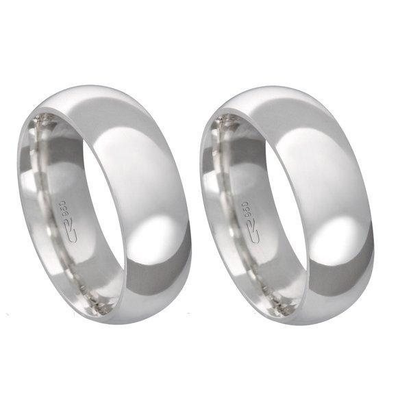 Alianças de compromisso em prata 950 tradicional anatômica 7 mm