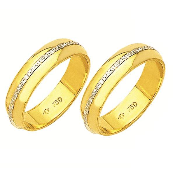 Alianças de casamento e noivado em ouro 18k. 750 trabalhada 2 tons com 5,5 mm