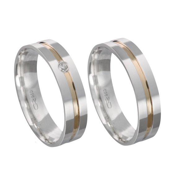 Alianças de compromisso em prata 950 trabalhada com fio de ouro e pedra 5 mm