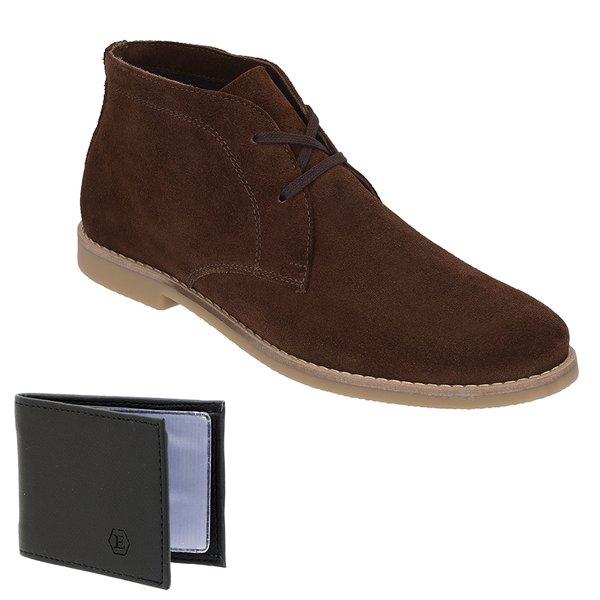 Botina Luxury Desert Boots Chelsea Escrete Café Com Cadarço Em Couro Legitimo 503