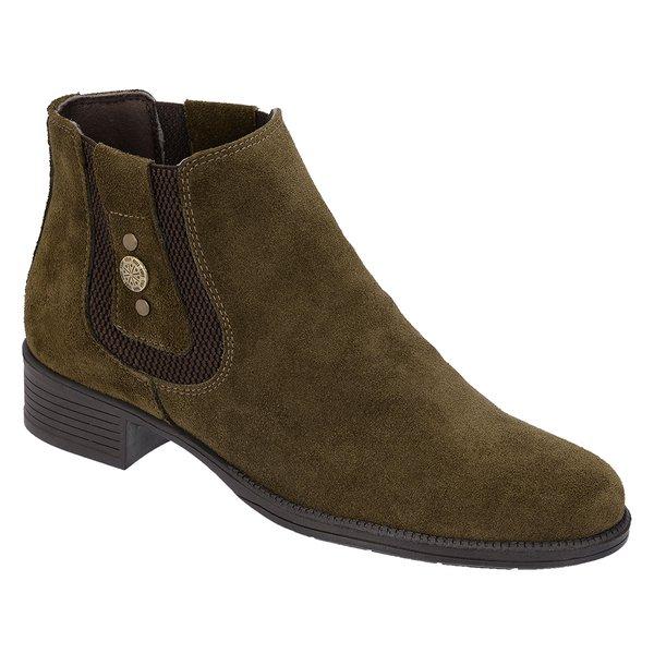 4315abf595 Botina Chelsea Boots Feminina Legitimo Escrete 2464 Couro Camurça Verde  Musgo