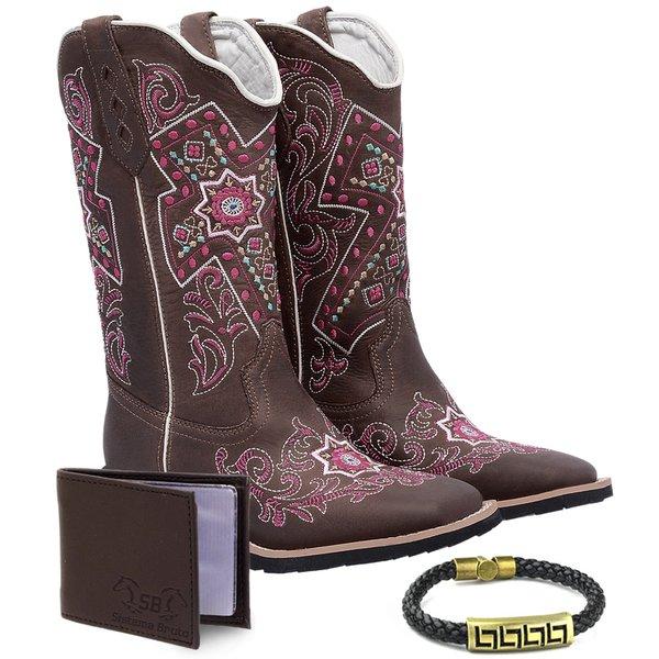 5808ca0f2e6c9 Bota Feminina Texana Country Cruz Bruta + Carteira e Pulseira - Grazy Café/Bordado  Floral