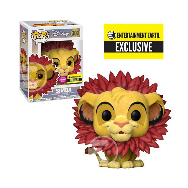The Lion King: Simba Leaf Mane Flocked Pop! Vinyl Figure #302 - Entertainment Earth Exclusive