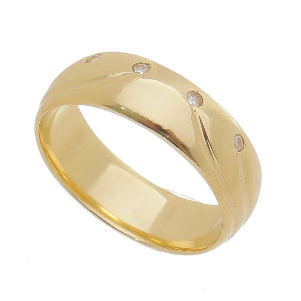 Aliança individual Casamento e Noivado em Ouro 18K de 6mm com Zircônias