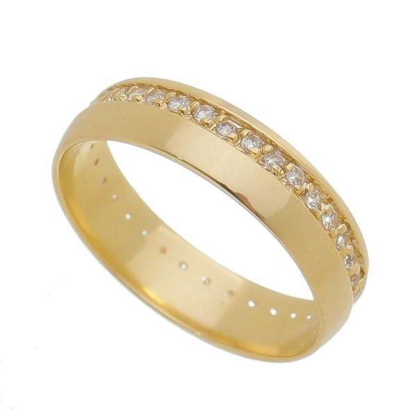 Aliança individual Casamento e Noivado em Ouro 18K de 5mm com Zircônias