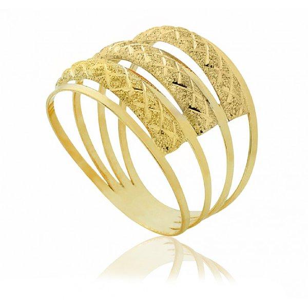 Anel de Ouro 18K Três aros diamantados