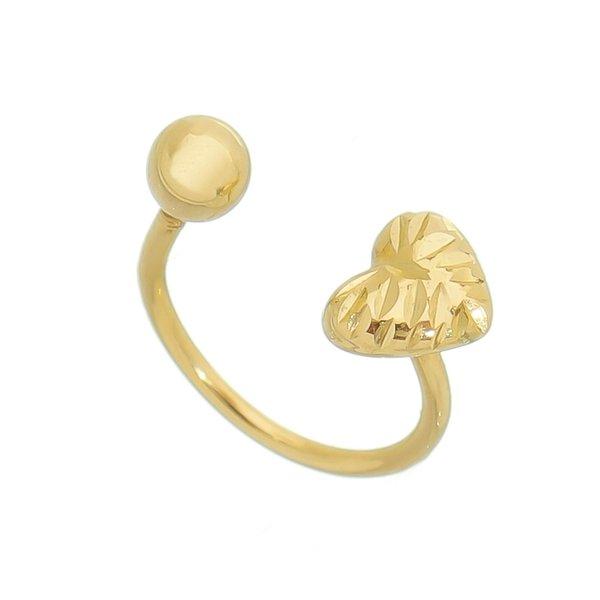 Piercing de Orelha, nariz ou targus de Ouro 18K Bolinha e Coração