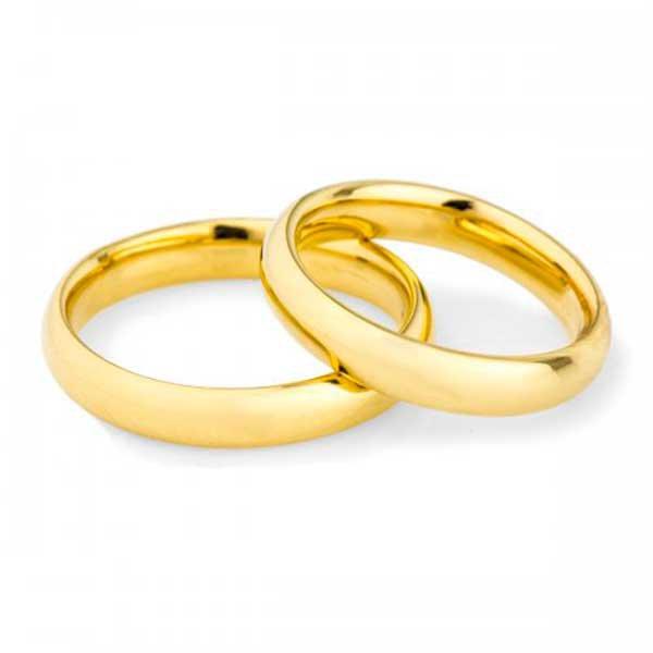 Par de Aliança Casamento e Noivado de Ouro 18K com 3,0mm Anatômica