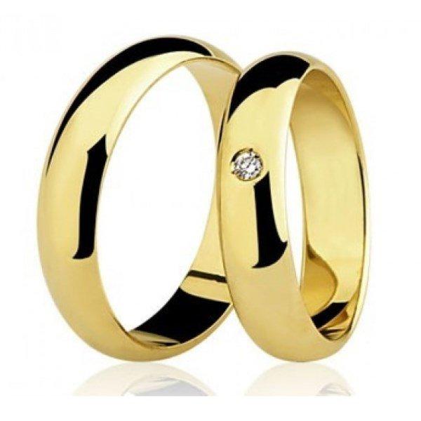 Par de Aliança Casamento e Noivado de Ouro 18K com Diamante 0,02Cts