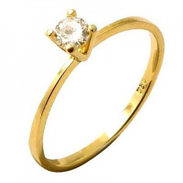 Anel de Ouro 18K Solitário com Diamante de 10 Pontos (0,10 Cts)