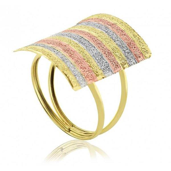 Anel de Ouro 18K Tricolor Retangular diamantado