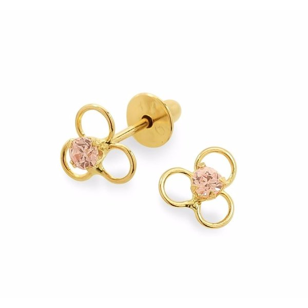 Brinco de Ouro 18K Flor com pedra rosa