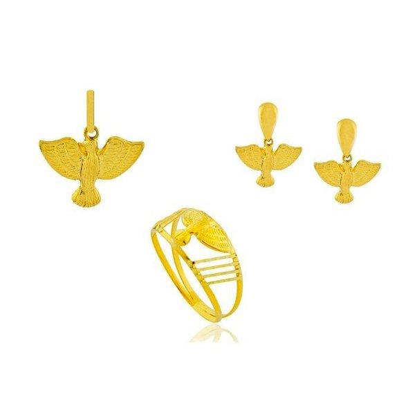 Conjunto Anel, Brinco e Pingente de Ouro 18K Espírito Santo