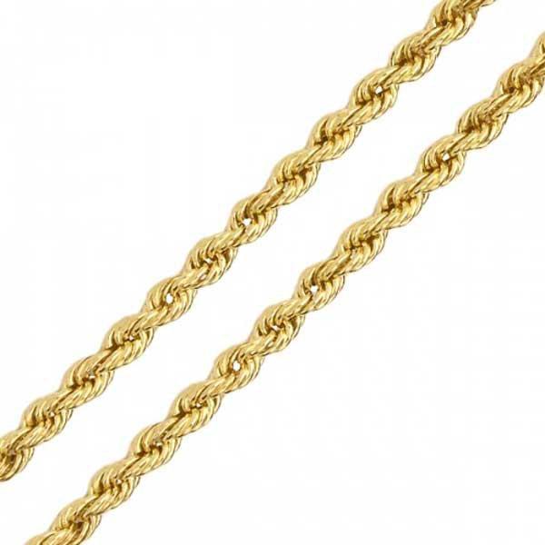 Corrente de Ouro 18K Malha Corda de 2,1mm com 45cm