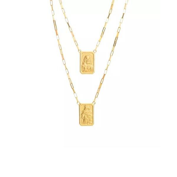 Escapulário de Ouro 18K Veneziana Longa de 1,3mm com 60cm