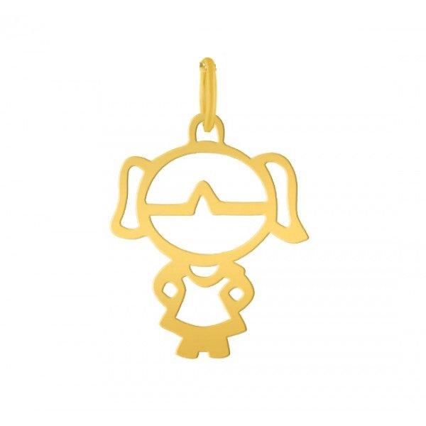 Pingente de Ouro 18K Menina de 25mm