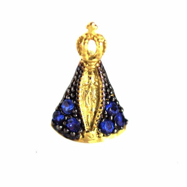 Pingente de Ouro 18K Nossa Senhora da Aparecida com pedras de 12mm