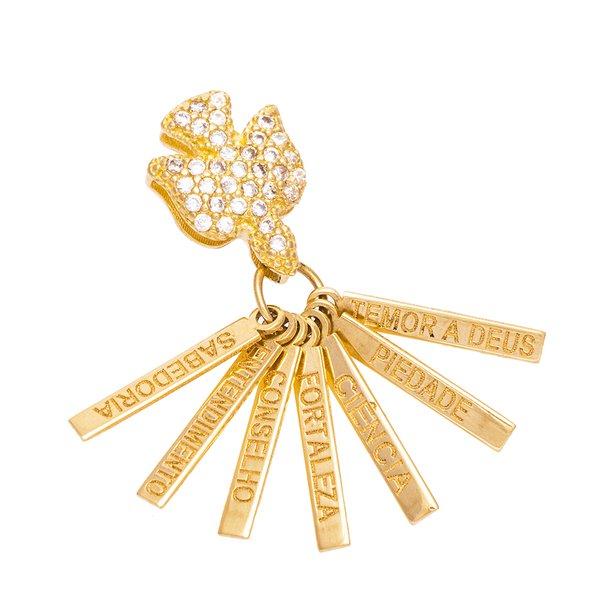 Pingente de Ouro 18K Espírito Santo com Placas 7 Dons