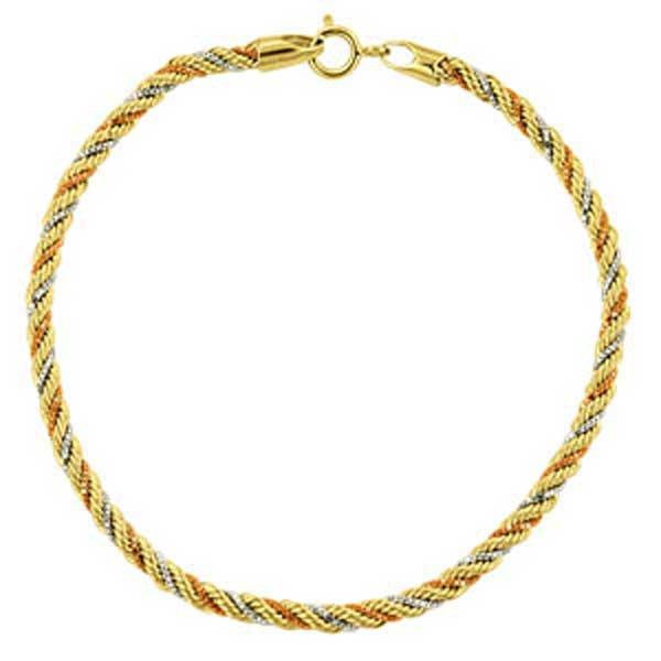 Pulseira de Ouro 18K Malha Corda Tricolor de 2,3mm com 16cm