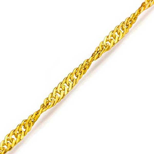 Tornozeleira de Ouro 18K Singapura de 1,1mm com 24cm