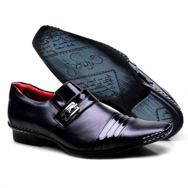 5416b79f9 Sapato Social em Couro de Carneiro Costura Manual CALVEST Preto 2810 ...